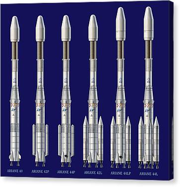 Ariane 4 Rocket Versions, Artwork Canvas Print by David Ducros