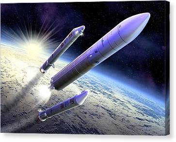 Ariane 5 Launch Of Envisat, Artwork Canvas Print by David Ducros