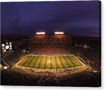 Arizona Arizona Stadium Under The Lights Canvas Print by J and L Photography