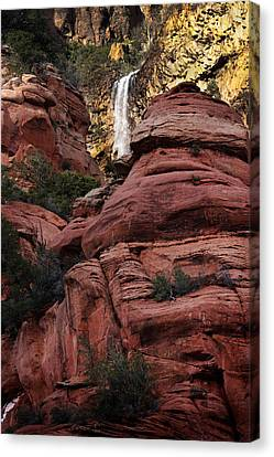 Canvas Print featuring the photograph Arizona Red Rocks Waterfall by Karen Lee Ensley