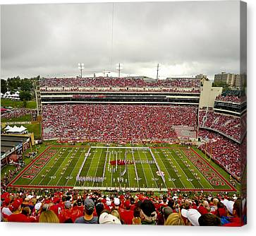 Razorbacks Canvas Print - Arkansas Marching Band Forms U-of-a At Razorback Stadium by Replay Photos