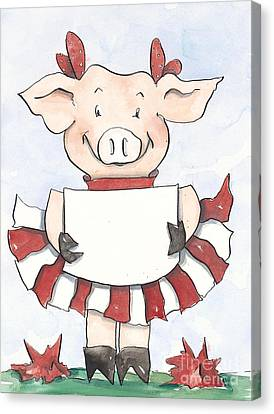 Arkansas Razorback Cheer Piggy Canvas Print by Annie Laurie