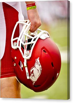 Razorbacks Canvas Print - Arkansas Razorback Helmet by Replay Photos