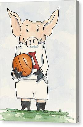Arkansas Razorbacks - Basketball Piggie Canvas Print by Annie Laurie