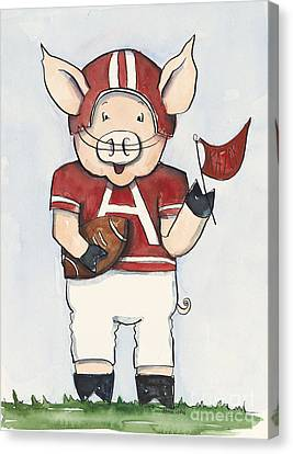Razorbacks Canvas Print - Arkansas Razorbacks - Football Piggie by Annie Laurie