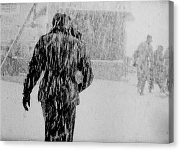 Army Base Snowstorm Canvas Print by Dale Stillman