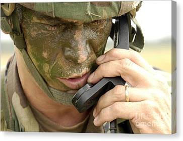 Army Master Sergeant Communicates Canvas Print by Stocktrek Images