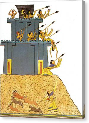 Army Of Ramesses II Attacks Syrian Canvas Print by Photo Researchers