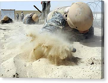 Army Soldier Pulls Himself Canvas Print by Stocktrek Images