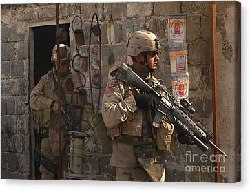 Army Soldiers Keeping An Eye Canvas Print by Stocktrek Images