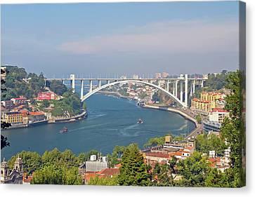 Arrábida Bridge Over River Canvas Print by Cmanuel Photography - Portugal
