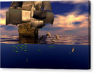 Canvas Print featuring the digital art Arrival Of The Pilots by Claude McCoy