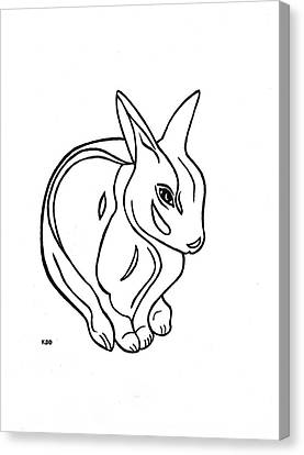 Canvas Print featuring the drawing Art Deco Bunny by Katherine Dohnalek
