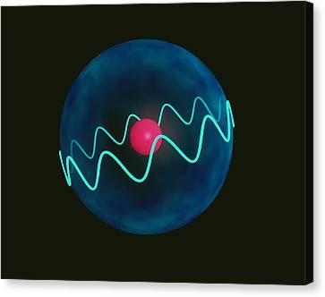 Electron Orbital Canvas Print - Art Of Hydrogen Atom With Electron In Orbital by Laguna Design
