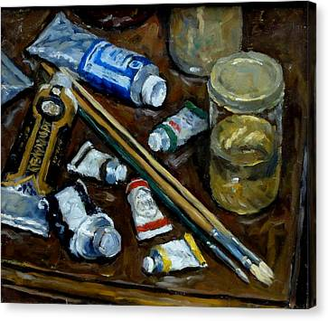 Water Jars Canvas Print - Still Life Tubes And Brushes by Thor Wickstrom