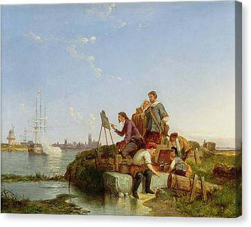 Artist At Easel Canvas Print - Artist At His Easel And Shipping Beyond by Pieter Christiaan Cornelis Dommelshuizen