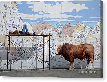 Artist At Work Canvas Print by Bob Christopher