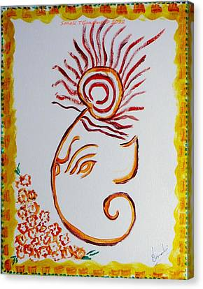 Canvas Print featuring the painting Artistic Lord Ganesha by Sonali Gangane