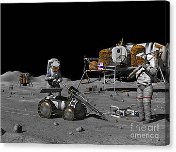 Artists Concept Of A Future Lunar Canvas Print by Walter Myers