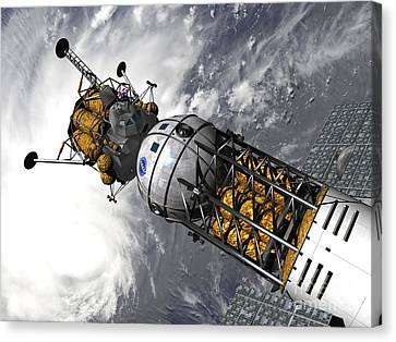 Artists Concept Of A Space Tug Docked Canvas Print by Walter Myers