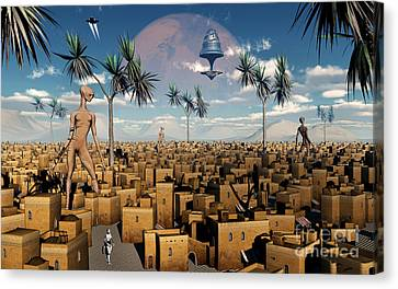 Artists Concept Of Aliens Visiting Canvas Print by Mark Stevenson