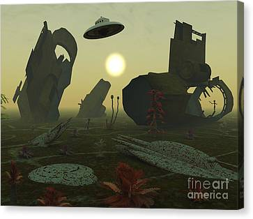 Artists Concept Of An Alien Scrap Yard Canvas Print by Mark Stevenson