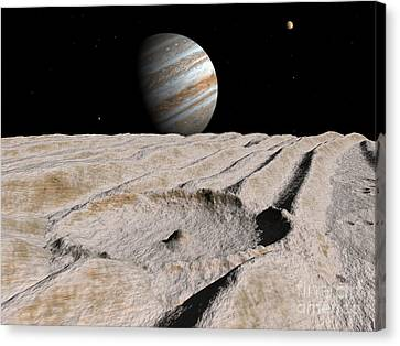 Artists Concept Of An Impact Crater Canvas Print by Walter Myers