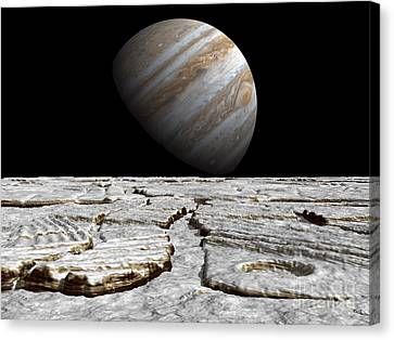 Artists Concept Of Jupiter As Seen Canvas Print by Walter Myers