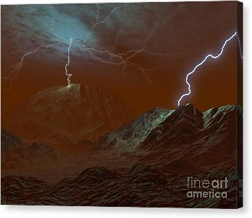 Artists Concept Of Lightning In Venus Canvas Print by Walter Myers