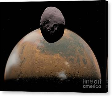 Artists Concept Of Mars And Its Tiny Canvas Print