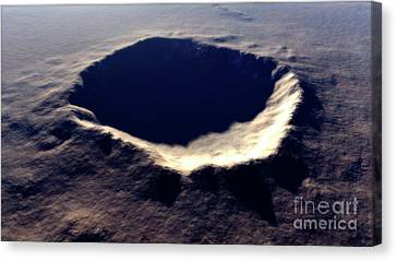 Artists Concept Of Meteor Crater Canvas Print by Rhys Taylor