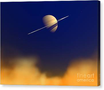 Artists Concept Of Saturn Amongst Canvas Print by Walter Myers