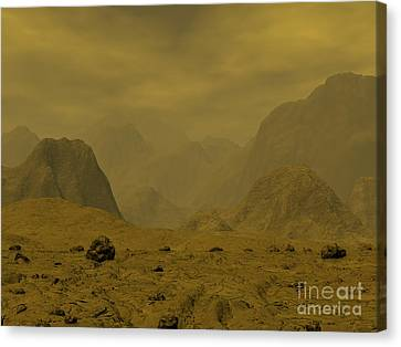 Artists Concept Of The Surface Of Venus Canvas Print by Walter Myers