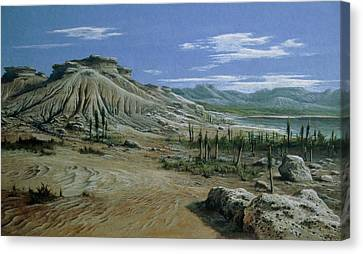 Artist's Impression Of Triassic Period Landscape. Canvas Print by Ludek Pesek