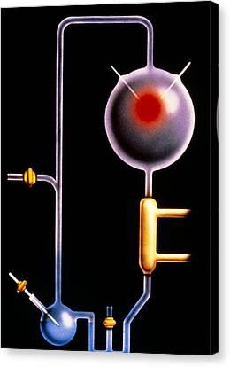 Artwork: Miller-urey Experiment On Origin Of Life Canvas Print by Francis Leroy, Biocosmos