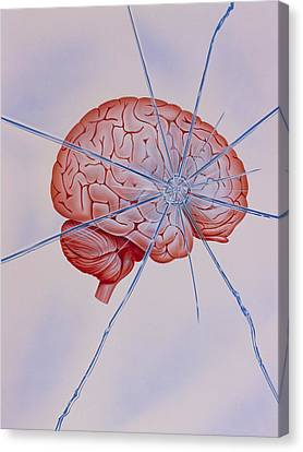 Artwork Of Brain With Shattered Glass Superimposed Canvas Print by John Bavosi