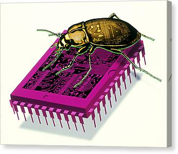 Artwork Of Millennium Bug With Beetle On Microchip Canvas Print by Victor Habbick Visions