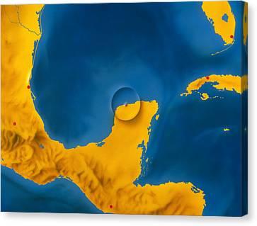Artwork Showing Chicxulub Impact Crater, Yucatan Canvas Print