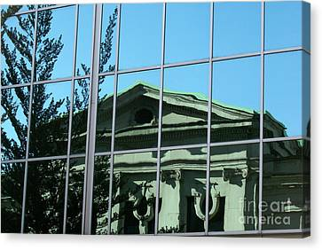 Canvas Print featuring the photograph Arty Reflection Vancouver Canada by John  Mitchell