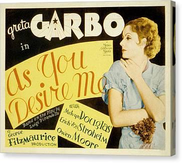 As You Desire Me, Greta Garbo, 1932 Canvas Print by Everett