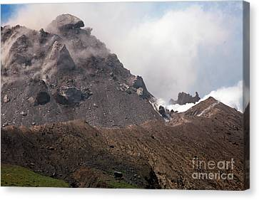 Ash And Gas Rising From Lava Dome Canvas Print by Richard Roscoe