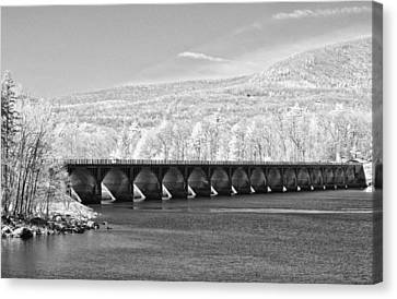 Canvas Print featuring the photograph Ashokan Reservoir Infrared by Nancy De Flon