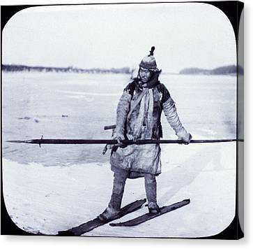 Asia, Goldi Hunter On Skis On Ice Canvas Print by Everett