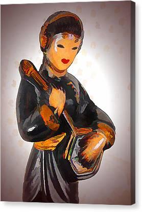 Asian Beauty Minstrel Canvas Print by Kathy Clark