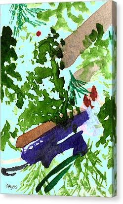 Canvas Print featuring the painting Asian Garden  by Paula Ayers