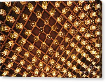 Miyajima Canvas Print - Asian Lanterns Suspended From A Ceiling by Jeremy Woodhouse