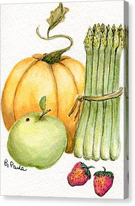 Asparagus And Friends Canvas Print by Paula Greenlee