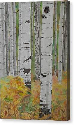 Aspens And Bracken Canvas Print by Laurel Thomson