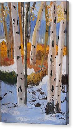 Aspens On Snowy Ground Canvas Print by Michele Turney
