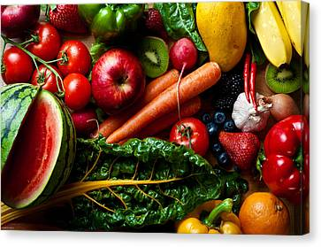 Assorted Fruits Vegetables And Spicy Stuff Canvas Print by Arjuna Kodisinghe